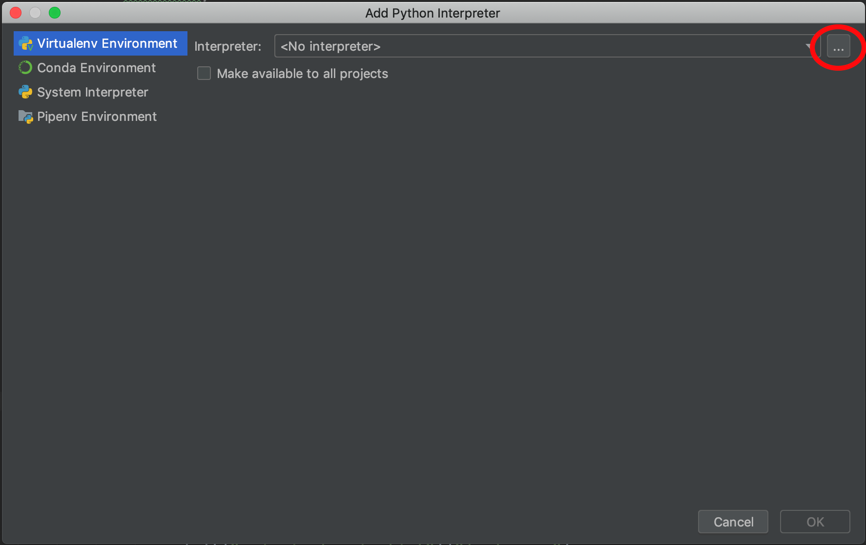 PyCharm new project interpreter dialog box